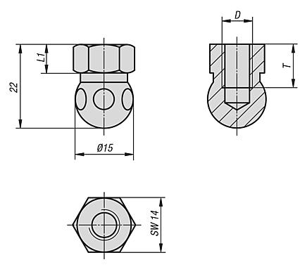 Swivel feet ball joints with internal thread