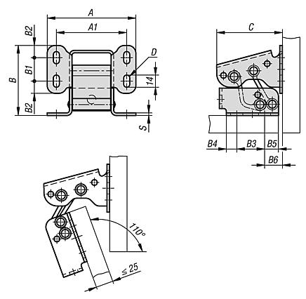 Hinges steel or stainless steel internal, opening angle 110°