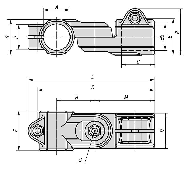 KIPP - Tube clamps swivel aluminum