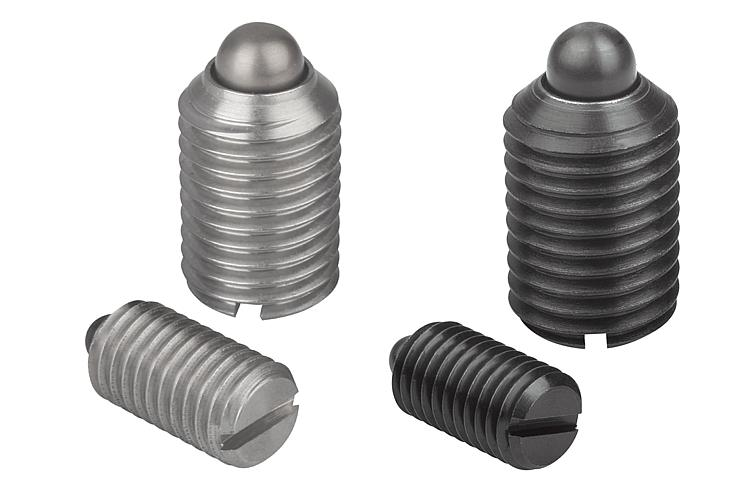 Metric Kipp 03041-205 Steel Spring Plungers with Heavy End Pressure Pin Style Long-Lok Hexagon Socket Black Oxide Finish Pack of 10 M5 Thread
